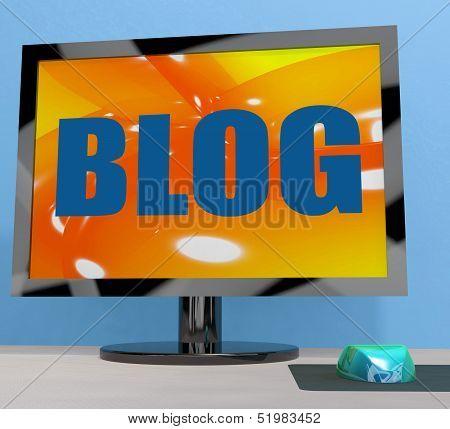 Blog On Monitor Shows Blogging Or Weblog Online