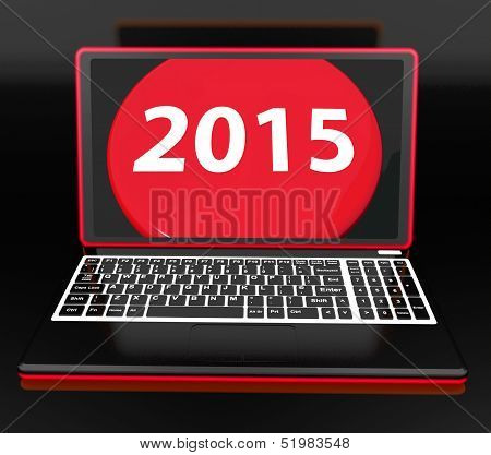 Two Thousand And Fifteen On Laptop Shows New Year Resolution 2015