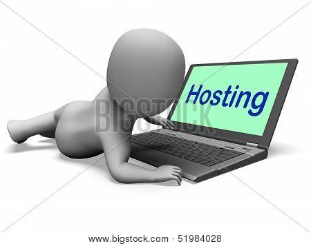 Hosting Character Laptop Shows Www Internet Or Website Host