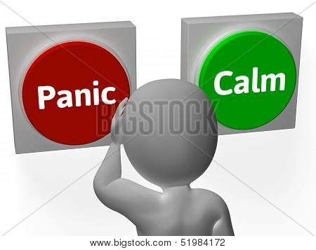Panic Calm Buttons Show Worrying Or Tranquility