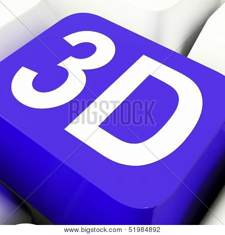 3D Key Shows Three Dimensional Or Dimensions