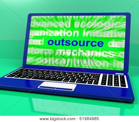 Outsource Laptop Shows Subcontracting Outsourcing And Freelance