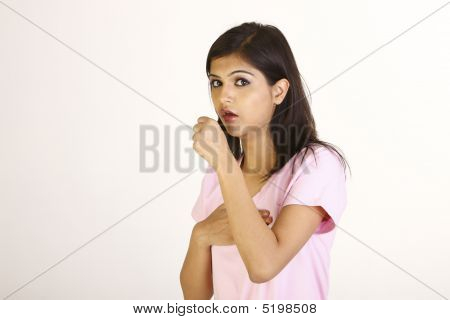 Girl With  Cough In Pink Dress