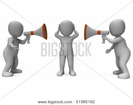 Loud Hailer Characters Show Megaphone Attention Explaining And Bullying