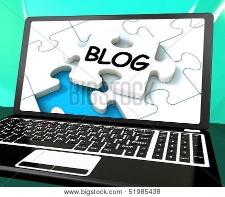 Blog On Laptop Shows Online Web Blogging Or Weblog Website