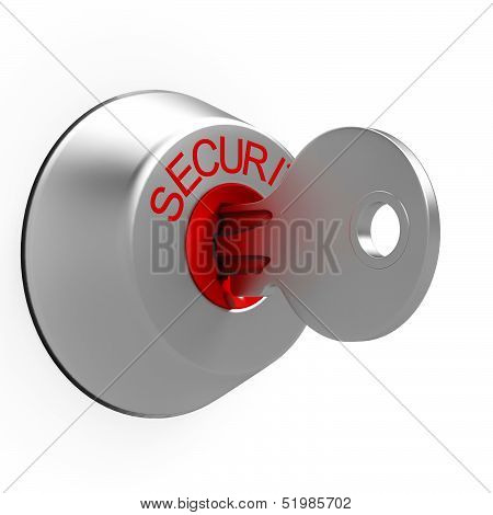Key In Security Lock Shows Safeguard