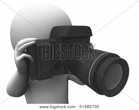 Photography Character Shows Taking A Photo Dslr And Photograph