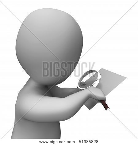 Looking Magnifier Document Character Shows Investigation Investigate And Investigating