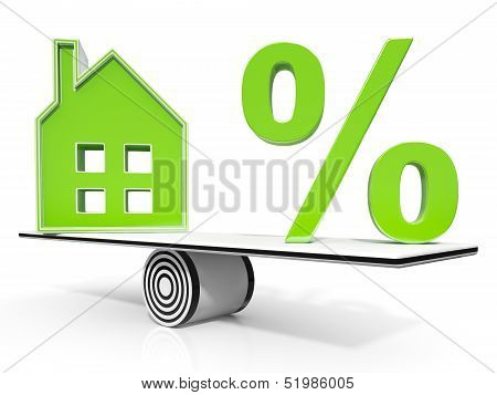 House And Percent Sign Meaning Investment Or Discount