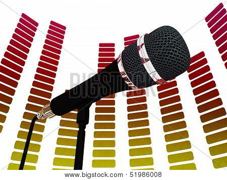 Graphic Equalizer And Mic Shows Rock Music Soundtrack Or Concert