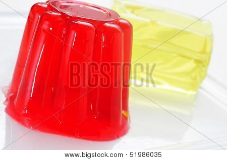closeup of a plate with refreshing gelatin desserts of different flavors and colors
