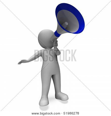Megaphone Message Character Shows Announcements Proclaiming And Announcing
