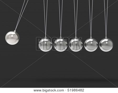 Six Silver Newtons Cradle Shows Blank Spheres Copyspace For 6 Letter Word