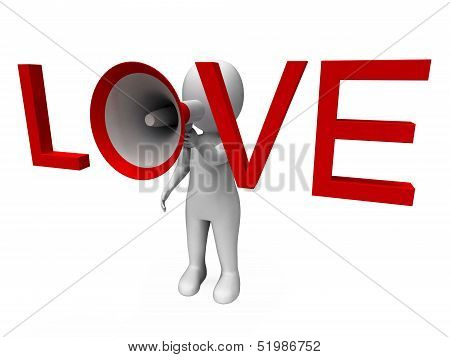 Love 3D Character Shows Romance Loving And Feelings