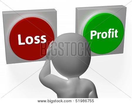Loss Profit Buttons Show Deficit Or Return