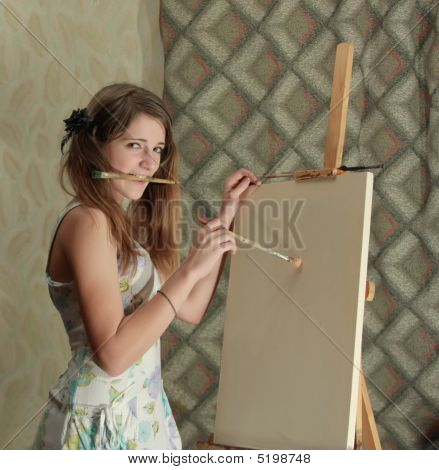 Girl Near Easel