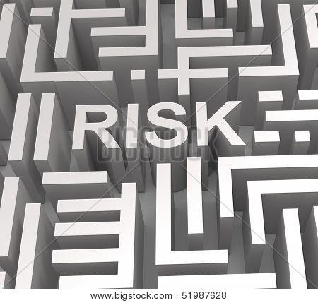 Risky Maze Shows Dangerous Or Risk