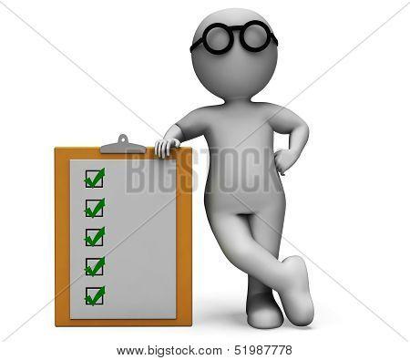 Checklist Clipboard Shows Test Questionnaire