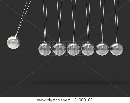 Seven Silver Newtons Cradle Shows Blank Spheres Copyspace For 7 Letter Word