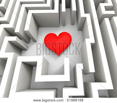 Finding Love Or Girlfriend Shows Heart In Maze