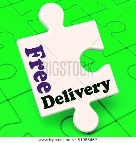 Free Delivery Puzzle Shows No Charge Or Gratis To Deliver