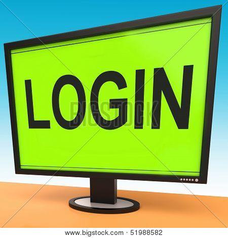 Login Screen Shows Website Internet Log In Security