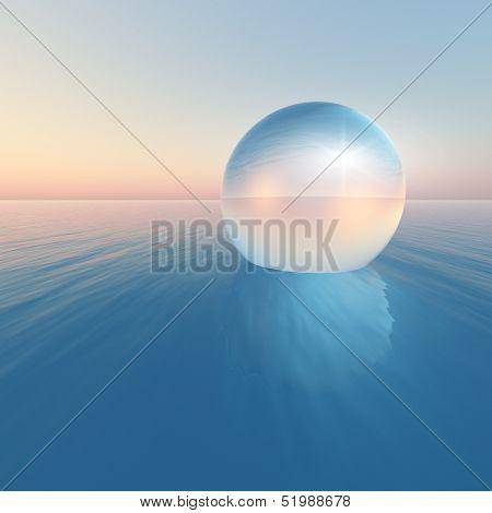 Crystal Sphere Floating Sunrise