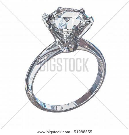 Isolated Diamond Ring Illustration