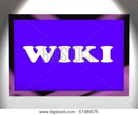 Wiki Screen Shows Online Information Knowledge Or Encyclopedia