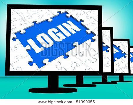 Login Monitors Shows Web Internet Log In Security