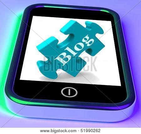 Blog On Phone Shows Mobile Blogging Or Weblog Website