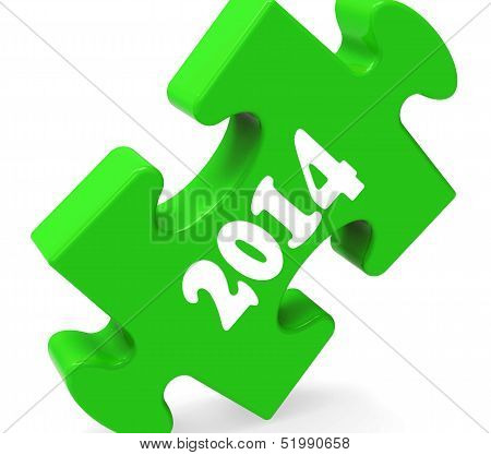 Two Thousand Fourteen On Puzzle Shows Year 2014