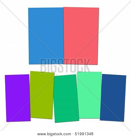 Two And Five Blank Paper Slips Show Copyspace For 2 Or 5 Letter Words