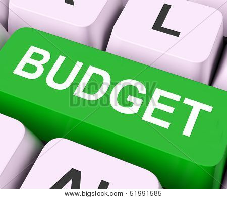 Budget Key Means Allowance Or Spending Plan.