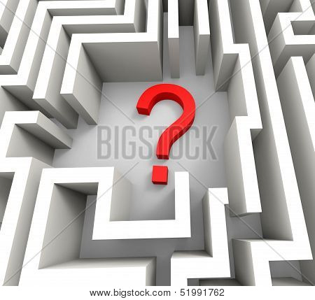 Question Mark In Maze Shows Thinking