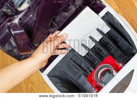 Installing Clean Air Filter In Vacuum Cleaner