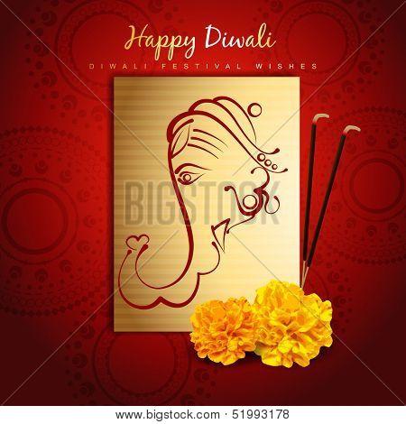 beautiful happy diwali design with lord ganesha