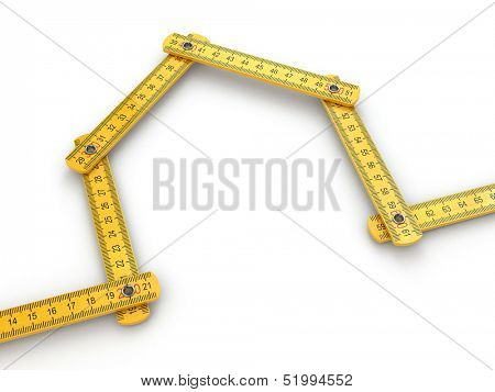 House from yard stick on white background