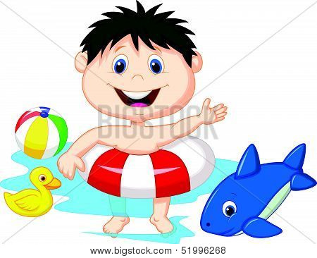 Cartoon Boy floating with inflatable ring