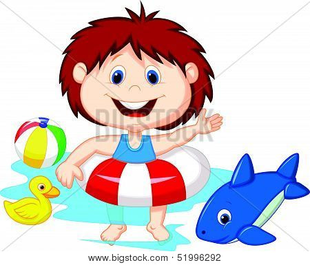 Cartoon Girl floating with inflatable ring