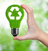 image of photosynthesis  - eco energy bulb in hand on green background - JPG