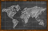 World map chalk drawing blackboard poster