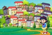 picture of hilltop  - Illustration of a young girl walking at the hilltop across the tall buildings - JPG