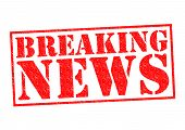 image of current affairs  - BREAKING NEWS Rubber Stamp over a white background - JPG