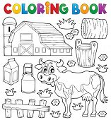 stock photo of haystacks  - Coloring book cow theme 1  - JPG