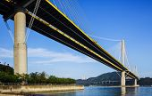 image of hong kong bridge  - Suspension bridge in Hong Kong - JPG