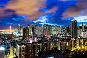 stock photo of hong kong bridge  - Urban city in Hong Kong at night - JPG