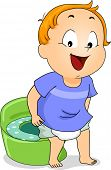 stock photo of peeing  - Illustration of a Young Boy Peeing on a Potty - JPG