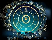 stock photo of midnight  - Gold Happy New Year  background  with clock - JPG