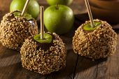 stock photo of toffee  - Homemade Caramel Taffy Apple with Peanuts for Halloween - JPG